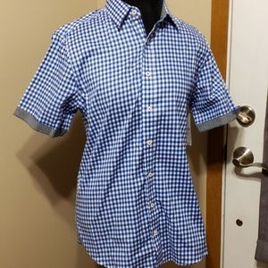 Signature studio short sleeve blue checked shirt